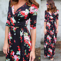 Sexy Women Boho Long Dress Floral V-Neck Maxi Evening Party Beach Dress Sundress