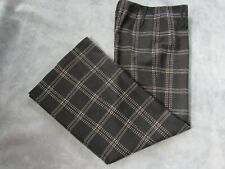 Milly of New York Womens Black Wool Cashmere Plaid Flare Trouser Pants Size 8
