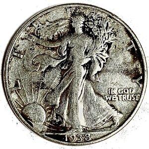 1938-D United States Silver Walking Liberty Half Dollar - VF