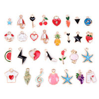 30pcs/lot Enamel Alloy Mixed Charms Pendant Jewelry DIY Craft Making Colorful