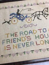"""Vtg Antique Sampler """"Road to Friend's House Never Long"""" Tiger Oak Frame"""