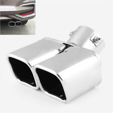 Universal Chrome Bent Dual Steel Exhaust Tip Square Car Tail Pipe Muffler Cover
