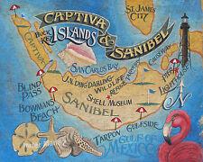 Sanibel and Captiva Island  Florida   beach Map Print art decor  sea shell decor