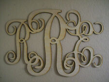 Unfinished Wood Letter Fancy Vine Monogram 3 Initials 17.5 inch tall x 28 inch