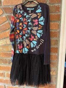 Girls Desigual Rainbow Black Butterflies Tutu Cotton stretch dress size 9/10