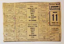 VINTAGE HORSE RACING PROGRAM / HIPODROMO QUINTANA / PUERTO RICO 1953 RARE #1