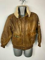 WOMENS RYAN BROWN VINTAGE USA AIR FORCE AVIATION FLYING LEATHER JACKET SIZE 10