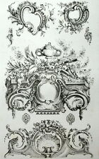 ornement Rocailles Rococo décoration architecture gravure Riester Clerget