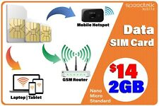 4G LTE Hotspot Internet Data SIM Card USA Domestic and International Roaming 2GB