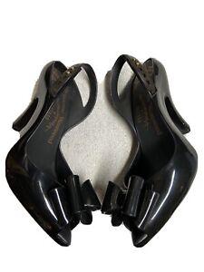 Vivienne Westwood Womens Black Patent Bow Toe Heels Dress Shoes Size Sz 7 M