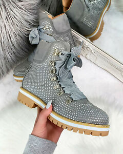 New Womens Ankle Boots Lace Up Flat High Top Winter Shoes Sizes