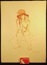 1969 CONSTANCE STOKES SIGNED PEN & INK & PASTEL NUDE WEARING HAT MELBOURNE VICT