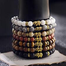 8mm Natural Stone Bracelets Elephant Beaded Buddhism Bracelets Elastic Bangle