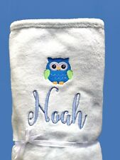 Personalised Baby Blanket Cot Pram OWL Any Name 75cmx90cm Gift Embroidery