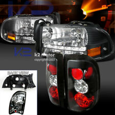 97-04 Dodge Dakota LED Crystal Headlights & Black Tail Brake Lamps