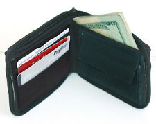 Black Plain Men Card Id Credit Coin Change Pocket Genuine leather Wallet Zip