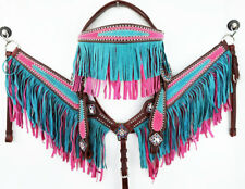 PINK BLING WESTERN COWGIRL BARREL TRAIL HORSE BRIDLE FRINGE BREASTCOLLAR TACK