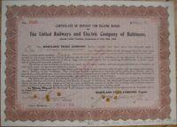 1906 Bond Certificate Deposit-United Railways-Baltimore