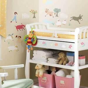 Wandsticker Kinderzimmer Wandtattoo Baby Bauernhof Farm Tiere Ziege Schaf Hund