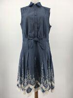 Trulli Shirt Dress Sleeveless Chambray Tie Waist Embroidered Floral Hem Size 6
