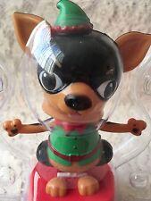 Solar Xmas Chihuahua Dog Bobble Head Elf Santas Helper Holiday Toy Watch Video