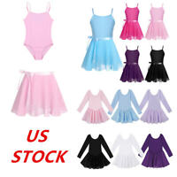 US Girls Gymnastics Ballet Dance Leotard Dress Kids Tutu Skirt Skating Costumes