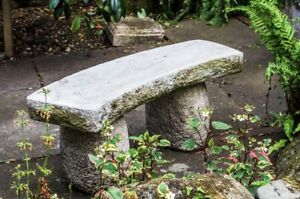 Large Stone Cast Carved Garden Bench Seat Heavy And Solid By DGS  130KGS