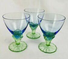 "Lot of 3 Bormioli Rocco BAHIA Dessert Glass Blue Green Stem 5.5"" Parfait Juice"