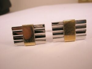 -Sterling Silver & Solid 14k Yellow Gold Quality Vintage AVEDON Cuff Links
