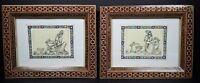 2 Folk Art Pictures Woman Man Mosaic Inlaid Frames Asian 7x9