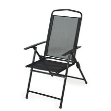 Outdoor Garden Furniture Siena 3 Position Recliner Chair - Black Folding Metal