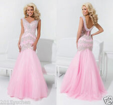 Custom Size Prom Dresses Pink Mermaid Wedding Long Evening Party dress Ball Gown