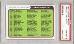 SET BREAK - 1974 Topps Traded Checklist PSA 8 NM-MT, L@@K !