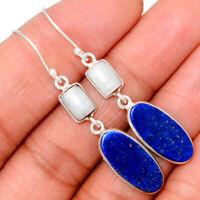 Lapis - Afghanistan & Fresh Water Pearl 925 Silver Earrings XGB BE7322
