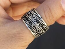 Half Inch Wide Adjustable Tibetan Filigree Sloping Weaving Dotted Amulet Ring