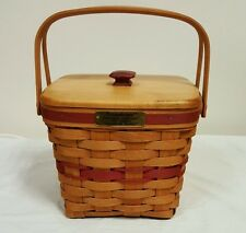 Longaberger 1995 Cranberry Basket with Protector & Lid Christmas Collection