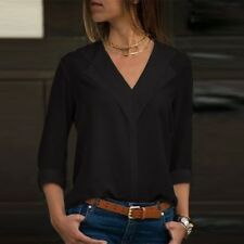 Sale Women Chiffon Long Sleeve Blouse Summer Casual V Neck Loose Tops T Shirts