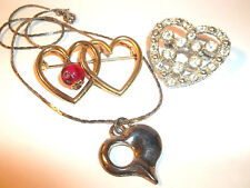 VALENTINES LOT!2 HEART BROOCH/ PINS,1 PENDANT NECKLACE- silver & gold finish