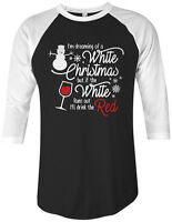 Threadrock Christmas Wine Drinking Unisex Raglan T-shirt Funny Gift