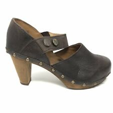 Sanita Womens Size 36 Heeled Clogs Brown Leather Studded Round Toe Strap