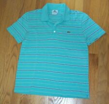 Vintage LACOSTE Blue Striped Polo Golf Shirt Top Men's Small Size 3
