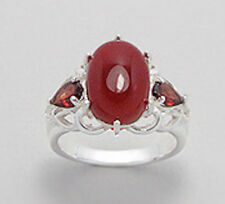 Solid Sterling Silver 4.9g Red Garnet & Carnelian 15mm Statement Ring Sz7 PRONG