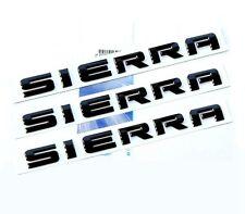 3x OEM Black SIERRA Rear Tailgate Door Emblems 2007-2016 GMC GM Nameplates F3U