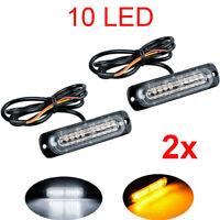 2x Amber/White 10 LED Car Emergency Beacon Warning Hazard Flash Strobe Light Bar