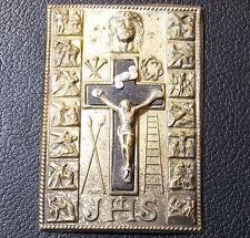 "ITALY OLD LAMINE PLAQUE JESUS CHRIST CRUCIFIXION ""JHS""DEATH & RESURRECTION SCENE"