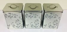 Silver Mirror Effect Floral Modern Style Tea Coffee Sugar Canister Set - Modern