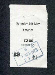 1978 AC/DC Bon Scott concert ticket stub Powerage Tour Manchester UK
