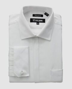 $75 Stacy Adams 15.5 32/33 Men Regular-Fit White French-Cuff Button Dress Shirt