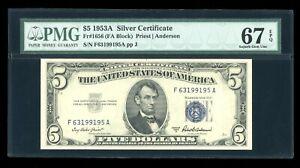DBR 1953-A $5 Silver Superb Gem Fr. 1656 FA Block PMG 67 EPQ Serial F63199195A