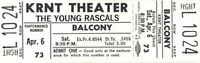 THE YOUNG RASCALS 1968 UNUSED KRNT THEATER CONCERT TICKET / NMT 2 MINT No. 2